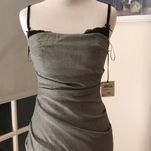 NWT Moschino gingham ruche midi dress